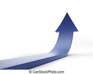 blue arrow isolated on white - Blue curved arrow isolated on...