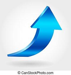 Blue arrow pointing upwards