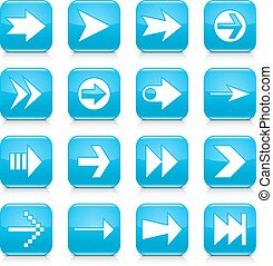 Blue arrow sign rounded square icon web button