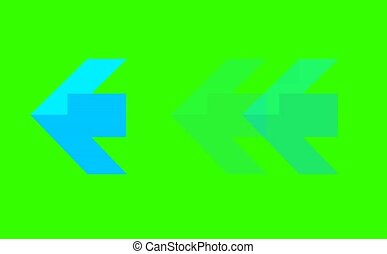 blue arrow sign three step blink and faded on green screen for banner and advertisement