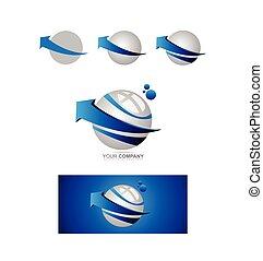 Blue arrow sphere 3d logo
