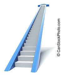 Blue arrow stair isolated on a white background. 3d render