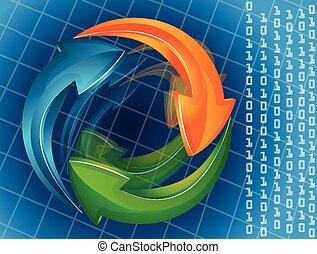 Blue arrows web template logo icon