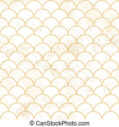 Blue asian fish scale retro pattern. Grunge and seamless. Grunge effects can be easily removed.