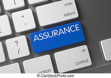 Blue Assurance Key on Keyboard. 3D.