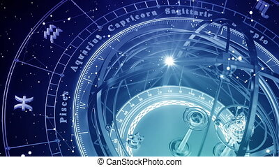 Blue Astrological Background. Seamless Looped. 3D Animation.