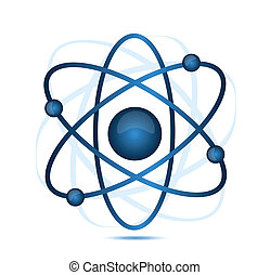 blue atom illustration isolated over a white background