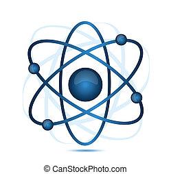 blue atom illustration isolated over a white background