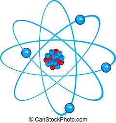 blue atom isolated over white background. vector...