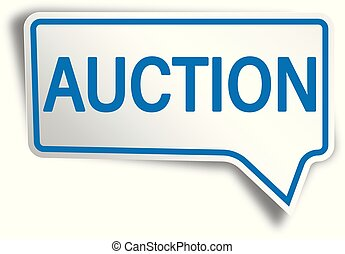 blue auction modern speech bubble tag web icon