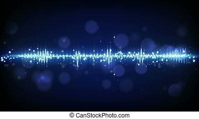 blue audio waveform techno loopable background - blue audio...