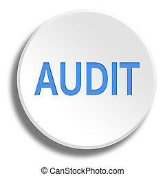 Blue audit in round white button with shadow