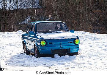 blue autó, fényszórók, retro, eredeti