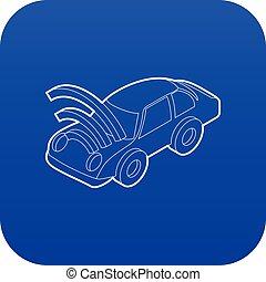 blue autó, wifi, aláír, vektor, ikon