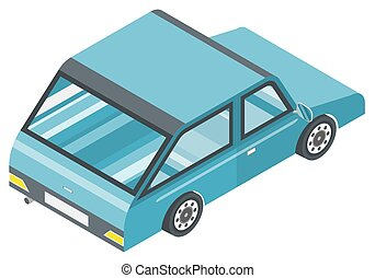 Blue Automobile Isometric Isolated on White Vector