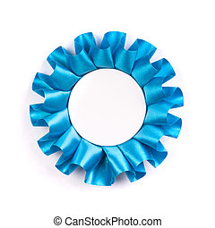 Blue award cockade with blank empty space inside isolated on...