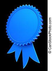 blue award ribbon blank reward medal rosette