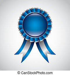 blue award ribbon over gray background. vector illustration