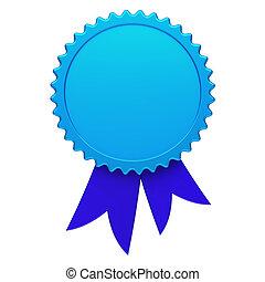 Blue award ribbon rosette blank reward medal