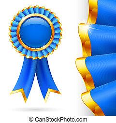 Blue award ribbon - Shiny blue award ribbon with golden...