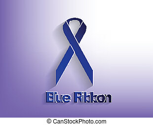 Blue awareness Ribbon on a blue background.