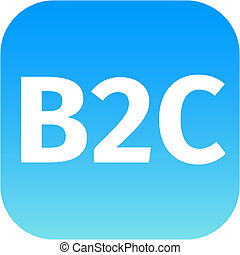blue B2C icon - blue business to customer icon B2C for web ...