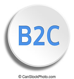 Blue B2C in round white button with shadow