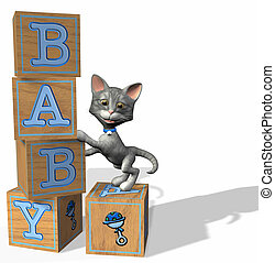 Blue Baby Blocks with a grey tabby cat