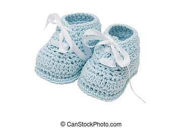Blue Baby Booties - Baby booties on a white background, blue...