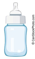 Blue baby bottle on a white background