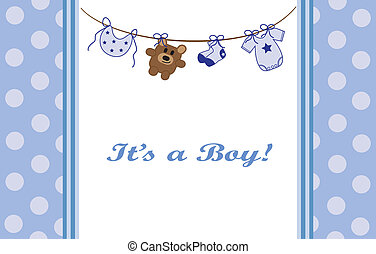 Blue Baby Boy Announcement - Cute blue baby boy announcement
