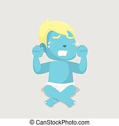 blue baby boy crying