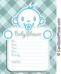 Blue Baby Boy Invitation