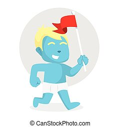 blue baby boy running with holding flag
