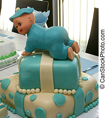 Blue baby cake with doll