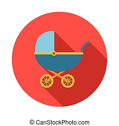 Blue baby carriage icon, flat style
