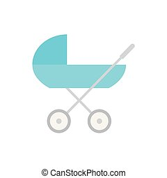 blue baby carriage, pram icon