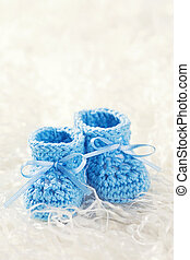 Blue baby crochet shoes