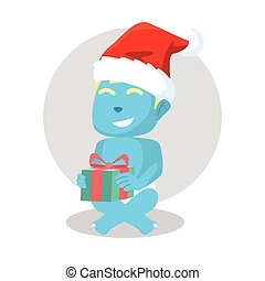 blue baby got a christmas gift