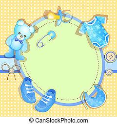 Blue baby shower card with cute teddy bear