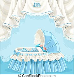 Blue baby shower card with baby boy - Blue baby shower card...