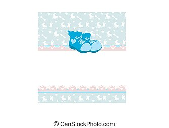 blue baby shower card with baby boy shoes
