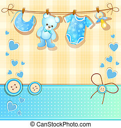 Blue baby shower card with cute teddy bear