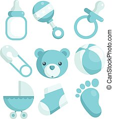 Blue Baby Shower Icons