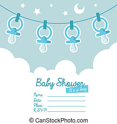 Blue Baby Shower Invitation with Pa