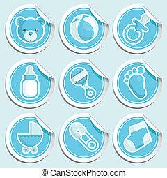 Blue Baby Shower Stickers. - Vector set of blue baby shower...