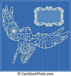 Blue backdrop with pegasus