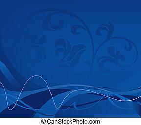 blue background - abstract floral background in blue tones;...