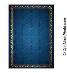 Blue background and floral frame
