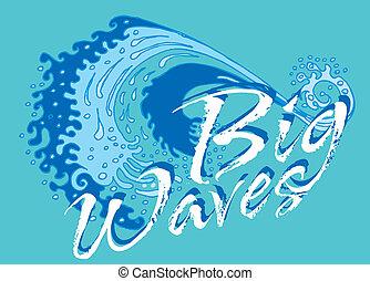 blue background big wave vector art